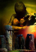 Stonehenge Digital Art Prints - Forgotten Past Print by Shadowlee Is