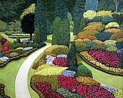 Floral Landscape Paintings - Formal Gardens by Frederic Kohli