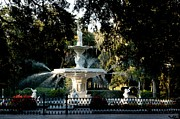 Boxes Photographs Framed Prints - Forsyth Park Fountain Framed Print by Leslie Lovell