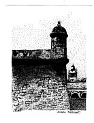 Puerto Rico Drawings - Fort San Felipe del Morro by Angel Serrano
