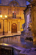 Night Lamp Framed Prints - Fountain Aix-en-Provence Framed Print by Brian Jannsen