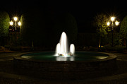 Night Lamp Framed Prints - Fountain at night Framed Print by Mats Silvan