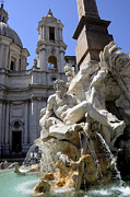 Churches Posters - Fountain. Piazza Navona. Rome Poster by Bernard Jaubert