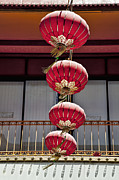China Town Photo Metal Prints - Four Lanterns Metal Print by Kelley King