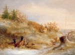 Wildlife Landscape Painting Framed Prints - Fox and Pheasants in Winter Framed Print by Anonymous
