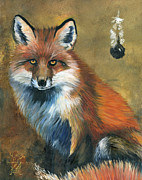 Medicine Mixed Media Prints - Fox shows the way Print by J W Baker