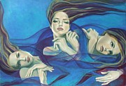 Red White And Blue Paintings - Fragments of longing  by Dorina  Costras