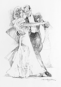 Dancers Drawings Posters - Fred and Ginger Top Hat Poster by David Lloyd Glover