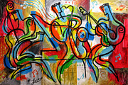 Jazz  Abstract Paintings - Free Jazz by Leon Zernitsky