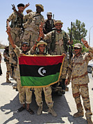 National Liberation Army Prints - Free Libyan Army Troops Pose Print by Andrew Chittock