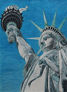 Statue Portrait Drawings Posters - Freedom Poster by Rabea Albilt