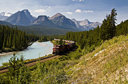 Alberta Rocky Mountains Posters - Freight Train Traveling On Morants Poster by Zoltan Kenwell