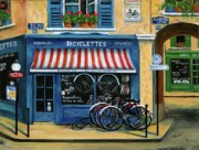 Marilyn Dunlap Paintings - French Bicycle Shop by Marilyn Dunlap