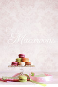 Tabletop Framed Prints - French macaroons on dessert tray Framed Print by Sandra Cunningham