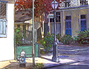 French Door Paintings - French Quarter Corner by John Boles
