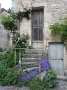 Climbing Posters - French Staircase With Flowers Poster by Marilyn Dunlap