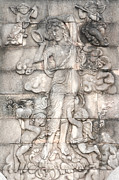 Carved Reliefs Metal Prints - Frescoes of women in mythology Metal Print by Phalakon Jaisangat