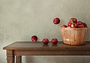 Dieting Posters - Fresh apples on wooden table Poster by Sandra Cunningham