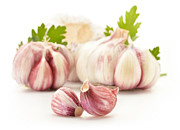 Taste Originals - Fresh garlic with parsley isolated on white by T Monticello