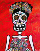 Frida Kahlo Flowers. Paintings - Frida Dia De Los Muertos by Pristine Cartera Turkus