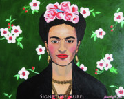 Frida Kahlo Flowers. Paintings - Frida in the Flowers by Signature Laurel