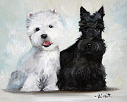 Scottish Terrier Puppy Prints - Friends Print by Mary Sparrow Smith