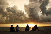 Sea Watch Prints - Friends watching sunset Print by Matt Tilghman