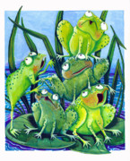 Lilly Pond Paintings - Frogs by Ilene Richard