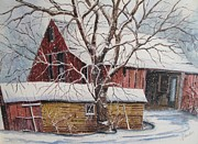 Old Barn Paintings - From the Past by Louise Peardon