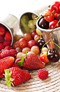 Juicy Photo Posters - Fruits and berries Poster by Elena Elisseeva