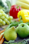 Food And Beverage Prints - Fruits And Vegetables Print by David Munns