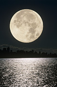 Sea Moon Full Moon Framed Prints - Full Moon Framed Print by David Nunuk