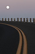 Yellow Line Framed Prints - Full Moon Over a Curving Road Framed Print by Jetta Productions, Inc