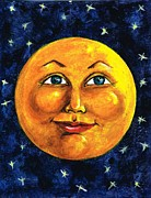 Man In The Moon Paintings - Full Moon by Sarah Farren