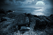 Rocks Digital Art Framed Prints - Fullmoon over the ocean Framed Print by Jaroslaw Grudzinski