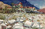 Death Painting Originals - Furnace Creek Inn in Death Valley by Donald Maier