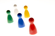 Pegs Prints - Game pieces in various colours Print by Bernard Jaubert