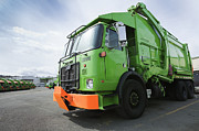 Parking Lot Prints - Garbage Truck Parked In A Parking Lot Print by Don Mason