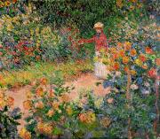 Woman Metal Prints - Garden at Giverny Metal Print by Claude Monet