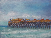 Atlantic Ocean Pastels Metal Prints - Garden City Beach Pier Metal Print by Pamela Poole