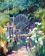 Trellis Paintings - Garden Respite by Marie Massey