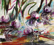 Abstract Food Paintings - Garlic Watercolor and Pastel by Ginette by Ginette Callaway