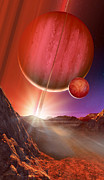 Gas Giant Posters - Gas Giant Seen From Its Moon Poster by Detlev Van Ravenswaay