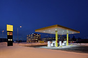 Conditions Posters - Gas Station At Night Poster by Jaak Nilson