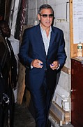 Celebrity Candids - Monday Framed Prints - George Clooney, Leaves The Live With Framed Print by Everett
