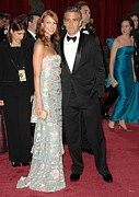 Red Carpet Prints - George Clooney, Sarah Larson Wearing Print by Everett