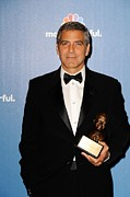 Clooney Photo Framed Prints - George Clooney Wearing Giorgio Armani Framed Print by Everett