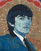 1960 Drawings Posters - George Harrison Poster by Suzanne Gee