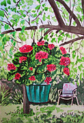 Hanging Pot Framed Prints - Geranium Sketchbook Project Down My Street Framed Print by Irina Sztukowski