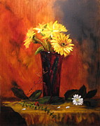 Gerbera Paintings - Gerbera Daisies by Caron Sue Staney